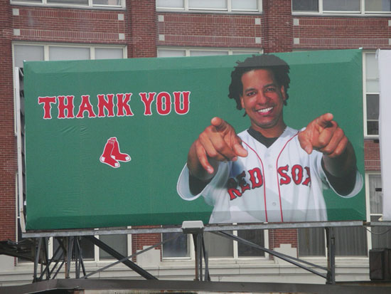 Manny sign outside of Fenway